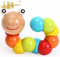 Wholesale 5PCS New Baby Toys Children Variety Twist colored Insects Wooden Toys Educational Toys high quality