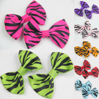 Wholesale 7 Pairs GIRLS BABY TODDLE HAIR BOW CLIP Leopard clip ALLIGATOR CLIP Ribbon Hair Accessories Christmas Clips CN005