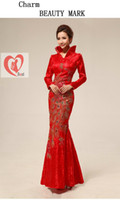 Wholesale Chinese traditional long sleeved collar wedding dress cheongsam women s red retro fashion lace cheongsam