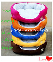 Wholesale Pet beds Fleece Warm Round Unique Soft Pet Dog Nest Puppy Cat Beds Cushion Dog Supplies color