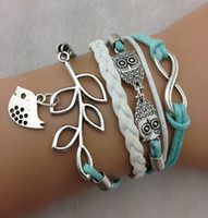 Wholesale Bracelet Owl olive branch peace dove Charm Mint Green Wax Cords and Leather Braid Christmas Gift LKNM8022