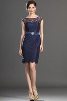 Wholesale High Quality But Cheap Navy Blue Lace Mother Of The Bride Dresses With Sash Knee Length Sexy Prom Dress Gowns No Sleeve Exquisite