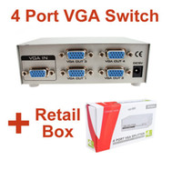 Wholesale 1 in Port Way out SVGA VGA Monitor Sharing Switch Box Video Splitter Adapter For LCD CRT with Manual and Retail packaging KV5