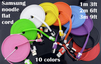 Wholesale 2m ft m ft noodle flat date transfer and charging cable cord for samsung HTC cell phone and camera