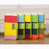 PU and TPU For Apple iPhone For Christmas Rainbow Wallet PU Leather Phone Case Cover for iPhone 5C 5 Colors TPU Back Shell with Card Holder & Support Stand free DHL 300pcs