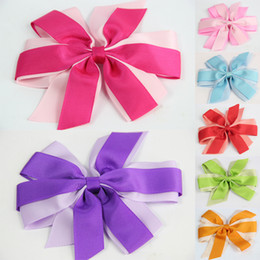 Wholesale 7 GIRLS BABY TODDLE HAIR BOW CLIP Double color clip ALLIGATOR CLIP Ribbon Hair Accessories Christmas Clips CN008