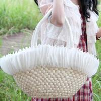 Plain straw beach bag - Vivi feather portable straw lady tote bag female beach bag women shoulder handbag