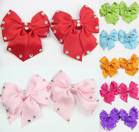 Barrettes wholesale lace ribbon - 7 Pairs GIRLS BABY TODDLE HAIR BOW CLIP Butterfly Diamond clip ALLIGATOR CLIP Ribbon Hair Accessories Christmas Clips CN009