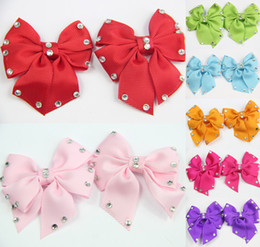 Wholesale 7 Pairs GIRLS BABY TODDLE HAIR BOW CLIP Butterfly Diamond clip ALLIGATOR CLIP Ribbon Hair Accessories Christmas Clips CN009