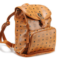 Wholesale Brand new MCM backpack Stone Yellow top unique PU leather print designer bag colors option worldwide