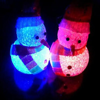 Wholesale 12PCS Crystal Christmas Snowman Change Color Discolor LED Night Lights Gifts Children s Toys Bedroom Adornment Ornament Lamp