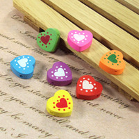 Wholesale 500gram Wood printed heart beads mm Mixed color Lacing beads DIY valentien s bracelet Craft material Freeshipping