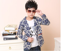 Wholesale Retro Fashion Boy Child Chinese China Blue and white Flower Pattern Jacket Suit Slim Long Sleeve Kid High quality Clothing Clothes C0019