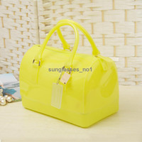 Wholesale 22 colors Candy Bag GLAM Turquoise GLITTER Jelly Rubber Handbag Purse Satchel good quality factory price DHL free SB1