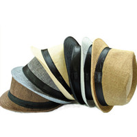 Wholesale Fashion Women Mens Fedora Trilby Gangster Cap Summer Beach Sun Straw Panama Hats