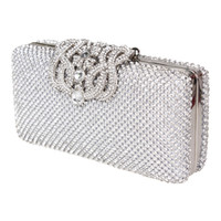 Wholesale Hot Fashion Lady Banquet Crystal Evening Purse Bridal Party Clutch bag Handbag Silver