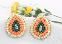 gold plating south korea Women's E0016 Europe pop accessories Geometry vintage colorful pearl set CZ diamong lady stud earrings gold plating adorn article free shipping