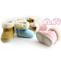 Wholesale 1 Pair Cute Infant Baby Boys Girls Winter Boots Toddler Fur Cotton Snow Shoes M L XL