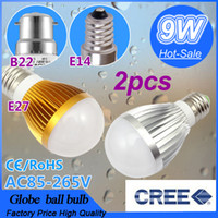 Wholesale 2pcs Dimmable Bubble Ball Bulb V V W E27 B22 E14 Energy Saving light LED Light Bulbs Lamp Lighting