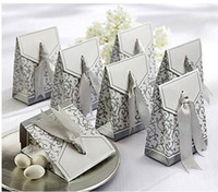 Favor Boxes Gold Paper Wedding favor and gifts Gold or Silver Color the Wedding Boxes with Ribbon Favor Boxes Wedding Favors and Gifts Box 1200pcs lots