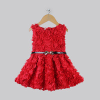 Girl Spring / Autumn Sleeveless 2013 Halloween Children Dresses For Girls Christmas Red Dresses With Rose And Belt Girls Birthday Dresses Wholesale Free Shipping GD30904-02
