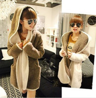 Women Middle_Length Wool Blend Fashion Korean 2014 New Autumn and Winter Loose Cloak Hooded Fleece Thick Warm Coats Casual Cardigan Women's Outerwear Clothes 2 color