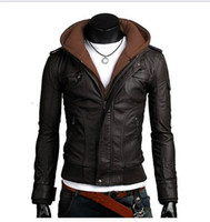 Wholesale 2016 Hot Sale Men Leather Jacket Knitted Hooded Zipper Patchwork Long Sleeve Casual Mens Motorcycle Jacket Coat Free Ship