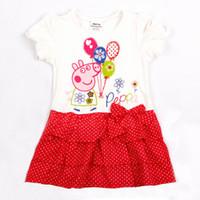 Wholesale Ready to Ship Nova Clothing m y Baby girls dresses Peppa Pig clothing cotton short sleeve cupcake dress with bow polka dot dress