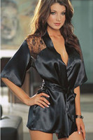 Wholesale Sexy Bathrobe Sauna Suits Sexy Lingerie Back See through Sleepwear Nightgown Black Lady Clothes Lace Eur Size Q13b
