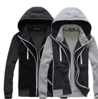Men zipper hooded jacket - New HOT Men s Casual Symmetrical zipper hit color hooded fake two Slim Hoodies Sweatshirts Jacket Coat