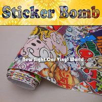 Wholesale Fantastic Style Sticker Bomb Vinyl Car Wrap Air Free Bubble For Car Decals FedEx Size m Roll