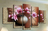Wholesale 100 Hand painted Oil Art Home Decor Landscape beautiful pink flowers Canvas Oil painting Set