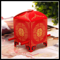 Favor Boxes Red Nonwoven Fabric Hot Selling Red Bridal sedan chair Candy Favor Sweest box Candy Boxes New Candy Favors Novelty Wedding Favors holders Unique Design Chinese