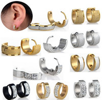 Wholesale Hot New Fashion Punk Stainless Steel Crystal Earrings Hoop Huggie Ear Studs Unisex Earrings JE01008