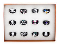 Wholesale Hot Sale Mix Black Resin Lucite Skull Pattern Kid Children Rings Jewelry MM Fashion Rings JR05019