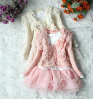 Girl Spring / Autumn  Spring autumn Children's clothing Baby girls 2pcs sets lace flowers dress long-sleeved Pearl jacket coats + dress TUTU dresses cv3
