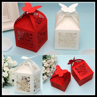 nonwoven fabric - Red White Butterfly Hollwed Laser Cut Candy Favor Sweet box Candy Boxes New Candy Favors Novelty Wedding Favors holders Unique Design
