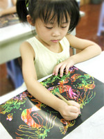 Wholesale Large Bright Colorful children colored drawing paper scratch scratch scratch paper scratch paper color painting cm cm