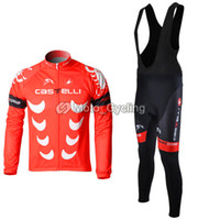 Wholesale Thermal Fleece Cycling Jerseys Castelli Team Winter Long Sleeve Cycling Clothing Bib Pants Suit Outdoor Bicycle Clothing Cycling Wear