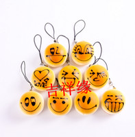 Wholesale cm The Simulation Food Expression of Bread Cell Phone Straps Kawaii Rare Squishy Buns
