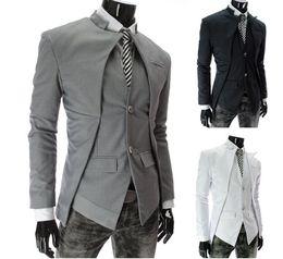 Wholesale 2013 New Brand British Style Slim Men Suits Mens Stylish Design Blazer Casual Business Fashion Jacket Black Grey White