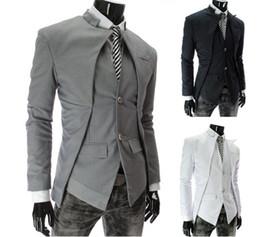 Wholesale 2013 nouvelle marque britannique style Slim Hommes Suits Hommes élégant Design Blazer Casual Business Mode Jacket noir gris blanc Livraison gratuite