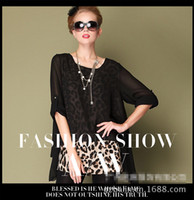 Christmas Casual Dresses Round M-XXL XXXL 4XL 5XL 2014 New Summer Big Plus Size Blouses Leopard Print Sheer Sleeve Loose Chiffon Women Blouse D0261#