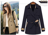 Wholesale New Autumn Winter Women Girls Fashion Lapel Dust Coats Sexy Ladies V Neck Leisure Trench Coats Middle Long Surcoat With Waistband