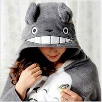 Wholesale Cute Kawaii Totoro Ghibli Soft Comfortable plush Costume Cloak Shawl Cape gray