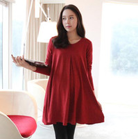 Wholesale Autumn New Fashion Long Sleeved Dress Pregnant women fall sweet pregnant woman dresses Maternity clothes