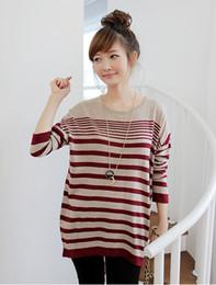 2014 embarazada mujeres embarazadas sueltas de manga larga rayas suéter