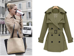 Women Trench Coats Ladies Fashion Double Breasted Dust Coats Sexy Girls V-Neck Trench Overcoats Long Sleeve Casual Surcoats With Waistbands