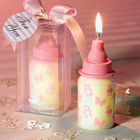 Wholesale Pink Baby Bottle Candle Favors baby shower wedding favors party gifts centerpieces giveaway