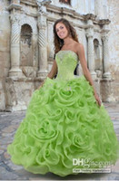 Ball Gown lace ruffled - Hot Quinceanera Dresses Sexy Summer Lime Green Organza Ruffles Lace Up Ball Gowns